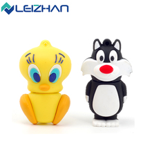 LEIZHAN USB Flash Drive Cartoon 4g 8g 16g 32g Yellow Bird Cat USB Memory Stick Pendrive USB Stick Gift 64g usb external storage