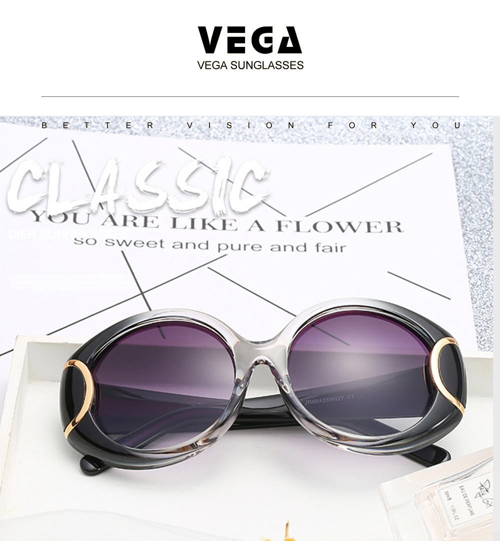 VEGA Eyewear Fashion Oval Sunglasses Women for Big Face Ladies Oversized Glasses with Large Frame Retro Vintage Sunglasses 226 (5)