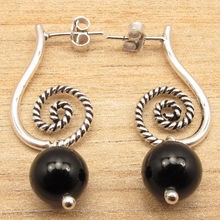 Beaded BLACK ONYX Beads ART Stud Earrings ! Silver Plated EXTRA ORDINARY Jewelry