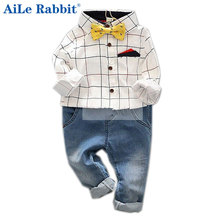 AiLe Rabbit Boy gentleman suit shirt + jeans pocket bow tie long-sleeved Cowboy Denim pants plaid suit Kids clothing set(China)