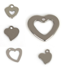 Free shipping Silver Tone Stainless Steel Heart Charm Pendants Blank Stamping Tags For Jewelry Making 2016 New