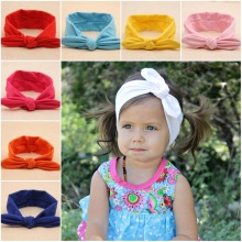 2017 children hair accessories Pure soft cotton tie rabbit ears headband hair band cute headband elastic knot turban 10 colors
