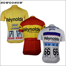 NOWGONOW 2017 Cycling Jersey Retro men yellow white red pro team Clothing Bike Wear MTB road top Maillot 3 style summer with NO.(China)