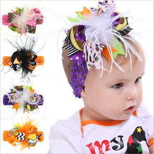 Hot Sale satin ribbon flower girls kids feather hair bows head bands wrap headband accessories for newborn children decoration(China)