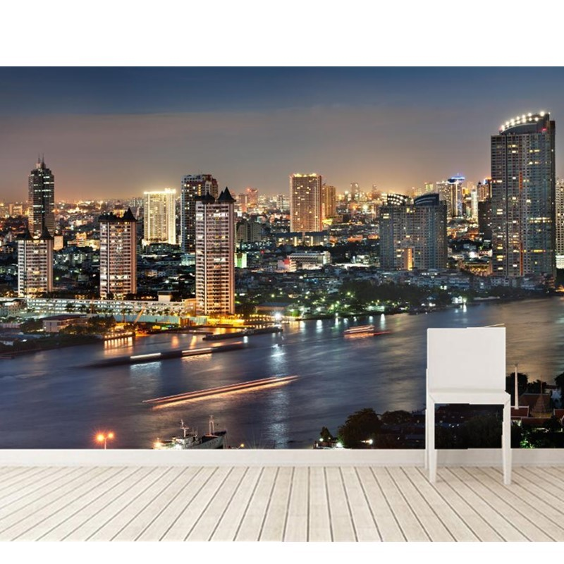 Custom photo wallpaper, Bangkok city urban night scene wallpaper mural for living room bedroom TV wall PVC wallpaper<br>