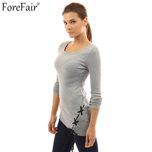 ForeFair Irregular Criss-Cross Lacing T Shirt Plus Size Women Tops Black Gray Army Green Long Sleeve Knitted T-shirt(China)