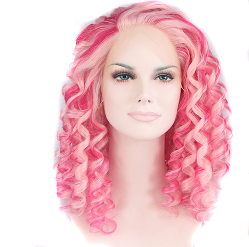 pink hair drag queen short kinky curly wigs synthetic lace front wig heat resistant wig for women free shipping<br><br>Aliexpress