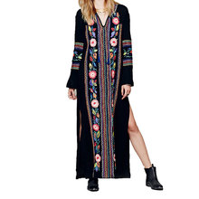 Women Bohemian Long Slim Dresses 2017 Spring Autumn Long Sleeves A Line Embroidery Ethnic Female Holiday Dress Chic Boho Vestido