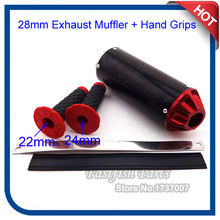 Red 28mm Aluminum Exhaust Muffler + Hand Grips For Chinese Mini Motocross Pit Dirt Bike(China)