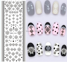 DS265 Design Water Transfer Nails Art Sticker Winter Style Black Snowflake Nail Wraps Sticker Watermark Fingernails Decals