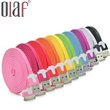 High Quality 1M/2M Long Flat 30 PIN Micro USB Data Sync Charging Cable Cord for iPhone 4 4S 3 3S iPod Touch