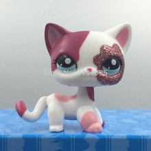 Girl's Collection toy EUROPEAN cat Kitty LPS Toy #2291 Kids gift Cute pet Pink cat with Blue eyes