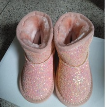 CCTWINS KIDS winter fashion fur boots for children pink glitter shoes boys pu leather boots baby girls brand warm boots black