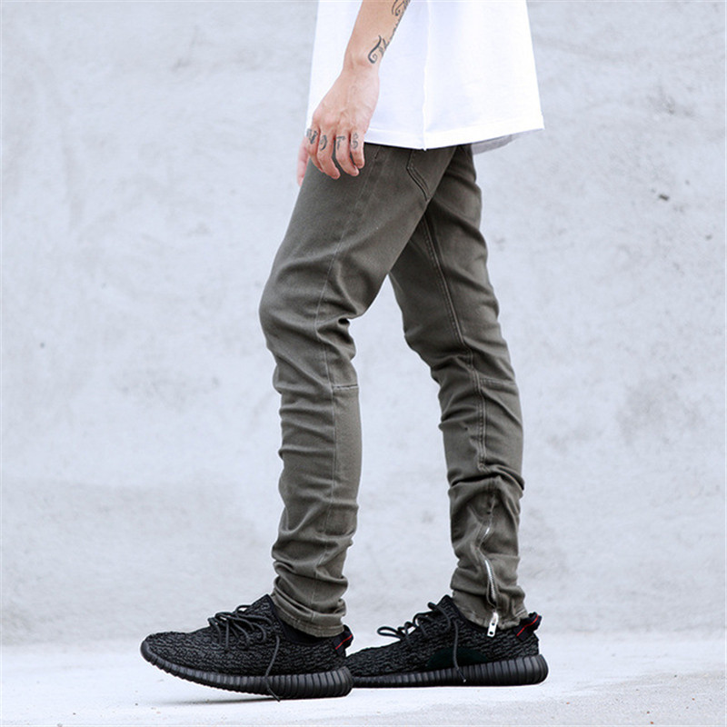 New arrival Mens Hip Hop Black White Army Brown Stretch Cotton Skinny Ankle Zipper Jeans Pants justin bieber Jeans m453Одежда и ак�е��уары<br><br><br>Aliexpress