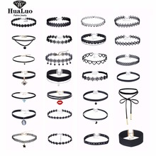 HUALUO Newest 5-30 Pcs Trend Black Velvet Leather Choker Necklace Heart Pendant For Women Girls Gifts Wholesale RBW139