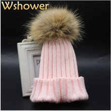 Pink Gray Black Red White Navy Children 100% Real Raccoon Fur Pompon Winter Hat Kids Boy Girl Baby Fur Pompom Knitted Beanies