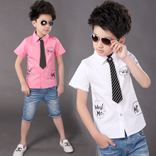 New  Boys Casual Shirt  White And Pink  Boys Dress Shirts Chemise Garcon  Boys Shirts 6BBL119