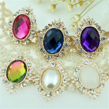 17pcs/lot 17colors 25*30mm Decorative Metal Rhinestone Button Oval Shape Flatback Gold Plated Flower Center DIY Accessories