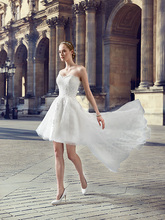High Low Wedding Dresses 2016 Short White Sweetheart A-line Summer Bride Dress Destination Wedding Gown Vestido De Novia