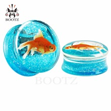 transparent acrylic fish logo blue color ear plugs and tunnels piercing gauges sell by pair 10-25mm(China)