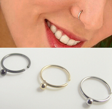 Free shipping Spike Ball Hoop nose rings,Nose Ring body piercing jewelry,Fashion stainless steel COLORFUL nose stud nail