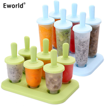 Eworld Lolly Mould Tray Pan Kitchen Randomly Color 6 Cell Frozen Ice Cube Molds Popsicle Maker DIY Ice Cream Tools Cooking Tools