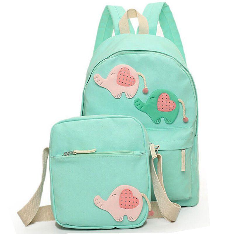 2 Pcs/Set Fashion Printing Canvas Women Backpack Rucksack 5 Colors Cute Elephant Design Backpacks for Teenage Girls School Bags<br><br>Aliexpress