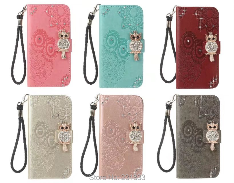 Diamond Bling OWL Strap Wallet Leather Pouch Case Iphone X 8 8TH 7 PLUS 6 6S I6 SE 5 5S Iphone8 Mandala TPU Stand Skin 1PCS