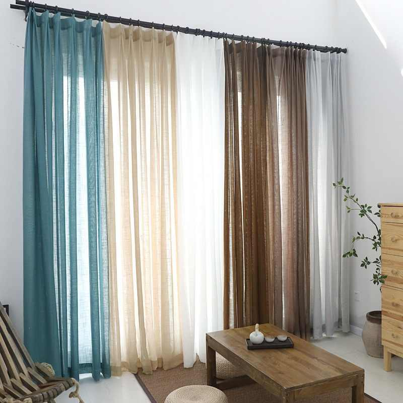 Solid Tulle Curtains for Living Room Modern Japan Cotton and Linen Light Sheer Voile Fabric for Curtains Window Treatments Blind