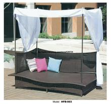 Rectangle Rattan Sofa Holiday Outdoor Rattan Sofa bed Terrace Sun bed Outdoor leisure patio balcony Sofa bed Chair with Tent(China)