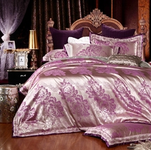Bedding sets king/queen size silver duvet cover with purple flowers printed suitable for adults/children 100% cotton(China)