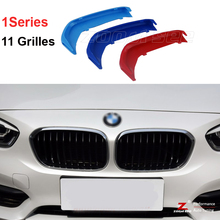 For 2015-2017 BMW 1 series 116i 118i 120i 3D M Styling Front Grille Trim motorsport Strips grill Cover Stickers   11 Grilles