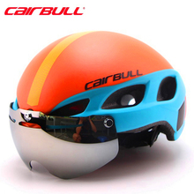 Orange Cycling Helmet  Goggles PC+EPS Bicycle Helmet With Lens Double Layers In-mold Bike Helmet Casco Ciclismo M/L 54-62CM