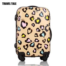 "TRAVEL TALE20""22""24"" inches ABS+PC Women luggage Suitcase Girls Leopard Print Luggage Universal Wheels Trolley Rolling Luggage(China)"