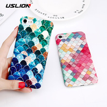 USLION Green Leaves Phone Case For iPhone 6 6s Plus Cartoon Fish Scales Matte Hard Plastic Cover Back Cases Coque for iPhone 6(China)