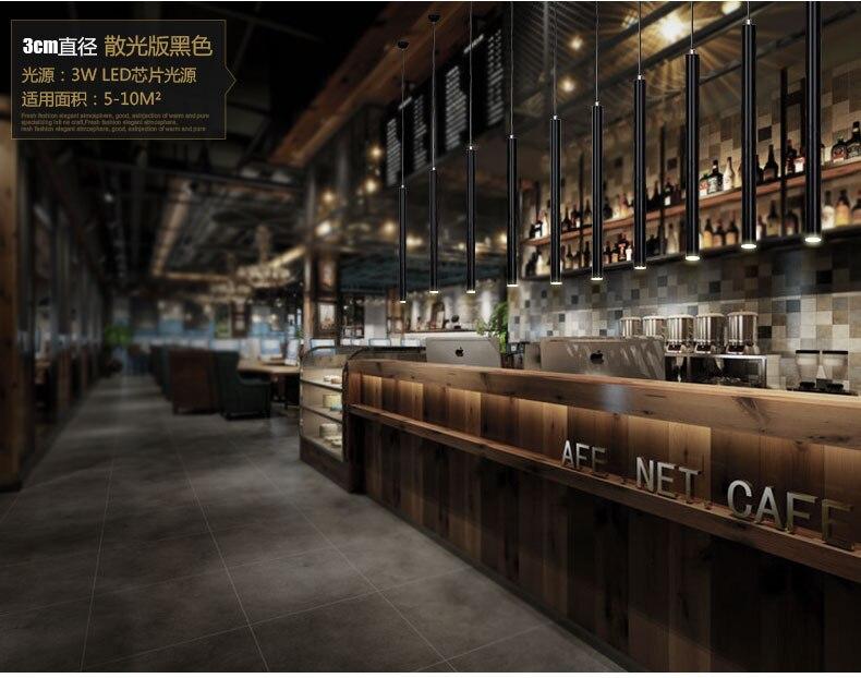 Modern Black Led Dining Room Pendant Light For Restaurant Bar Counter Cylinder-shaped Lamp Rectangular Base<br>