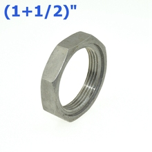 "2Pcs 1-1/2"" / DN40 Thread Nuts Metal Lock Nut 45mm Inner Dia. O-Ring Groove SS Pipe Fittings 304SS Stainless Steel"