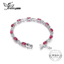 JewelryPalace Love Infinity 6.8ct Oval Created Ruby Tennis Bracelet 925 Sterling Silver Fashion Wedding Jewelry For Women Gift(China)