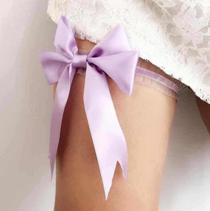 d6f4fba9816 Sexy Lace Bowknot Bridal Garter Set Bride Wedding Accessories Leg Garters  Belt Women White Pink Blue