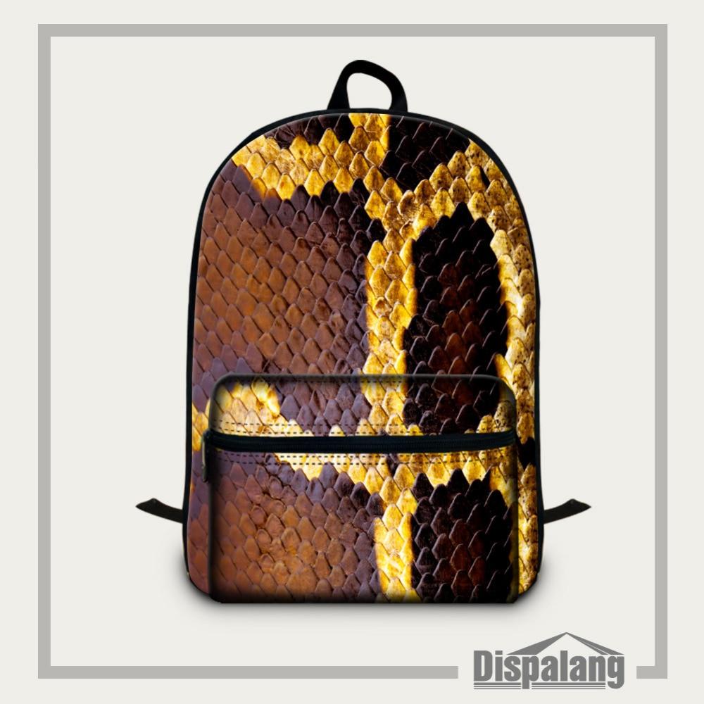 Dispalang Printing Laptop Backpack Snakeskin Pattern School Bags for Teenagers Womens Mens Travel Shoulder Bags Mochila Feminina<br>