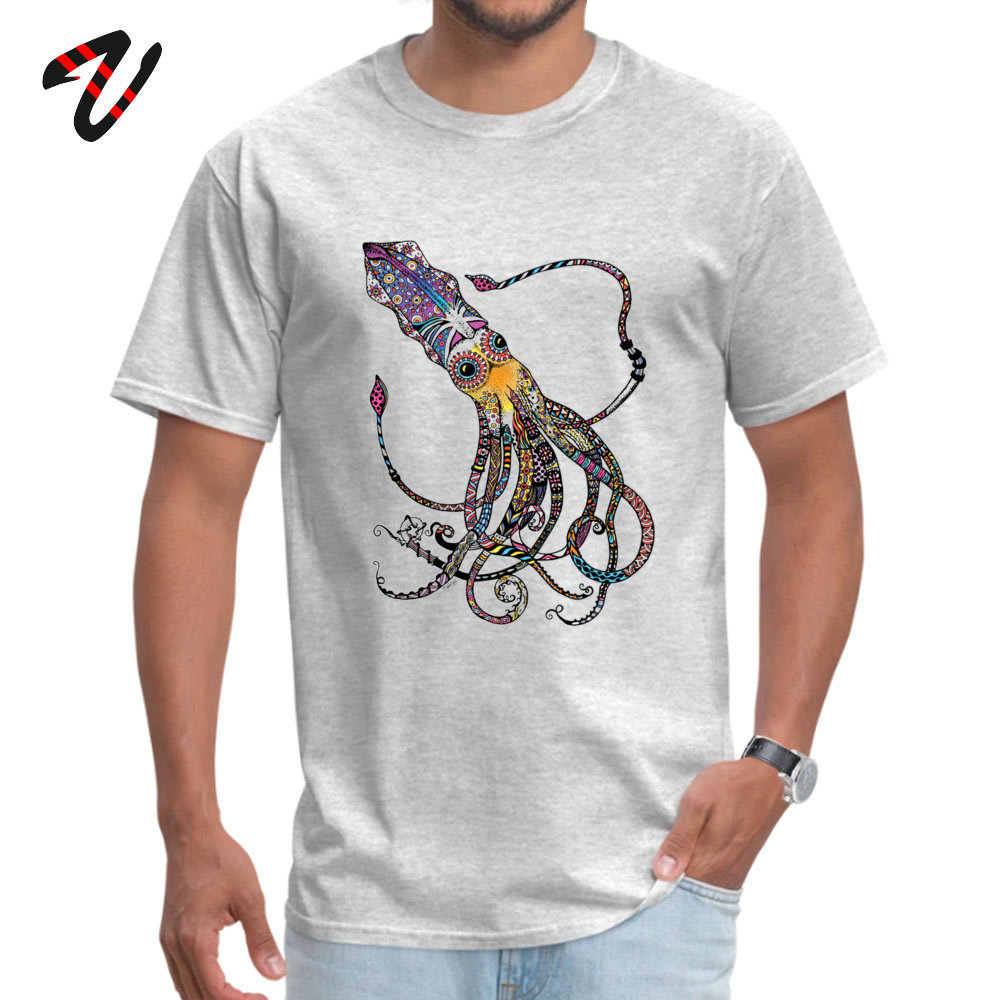 On Sale Men T-Shirt Crew Neck Short Sleeve 100% Cotton Electric Squid Tops T Shirt Design Tees Top Quality Electric Squid 297 grey