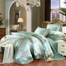 IvaRose 4-Pieces green Luxury Bedding Set Queen King Size Bed Set Jacquard Lace Duvet Cover Bed Sheet Bed Linen(China)