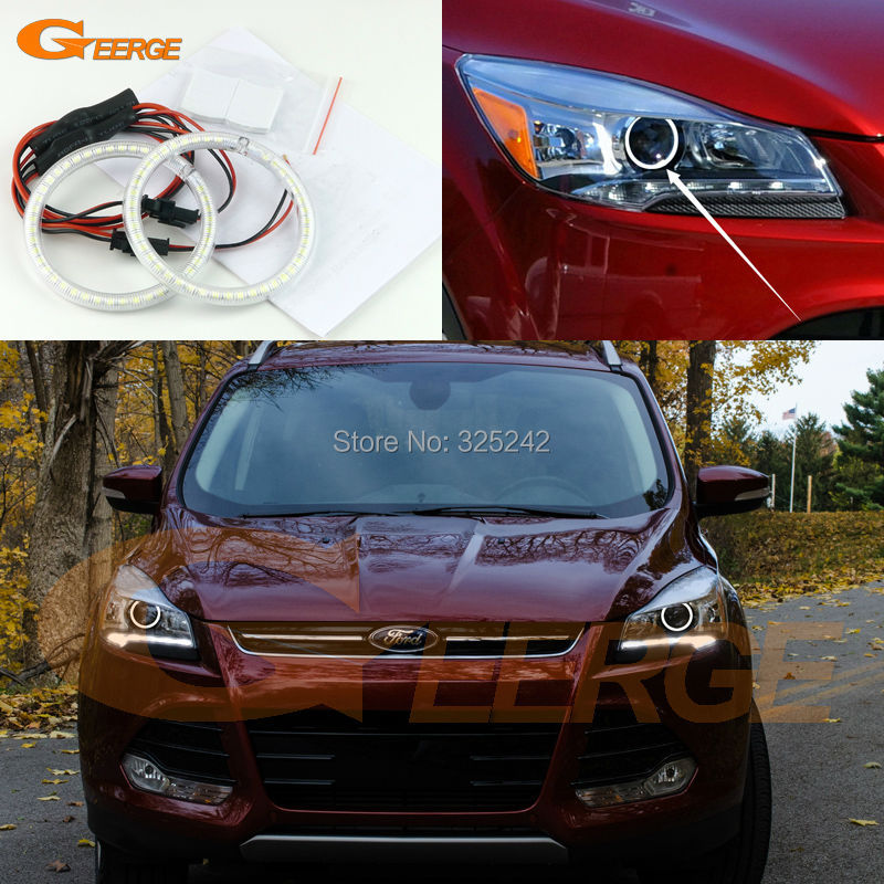 For Ford Escape kuga 2013 2014 2015 XENON HEADLIGHT Excellent Ultra bright illumination smd led Angel Eyes Halo Ring kit<br>