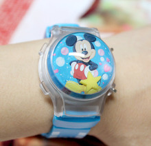 1 Piece Lovely Mickee Boy's Ball Shape LED Flashing Light Watches Children Cartoon Character Kids Digital Wristwatches Hot Sale(China)