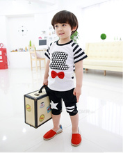 (Lucky store) baby boy clothing set summer style hat with bow short-sleeve t-shirt+ pattern shorts beach clothes