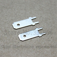 100pcs / lot Free shipping 6.3mm lengthened lug terminals connecting piece of PCB solder terminals tinned copper material