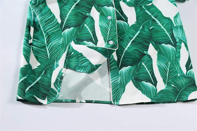 Brand Fashion Two Piece Set Women Runway Suit Fashion Green Leaf Print Dragonfly Beading Shirt + Elastic Waist Pants Sets 17