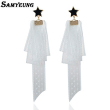 Samyeung Bohemian Long White Lace Earrings for Women Jewelry Star Statement Earring Female Earings for Girls Brincos Femme 12cm