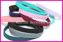 50PCS 6mm Assorted Colors Wide flat Elastic Ponytail holders Hair bands with glue connection,hair ties,wholesales,adult(China)