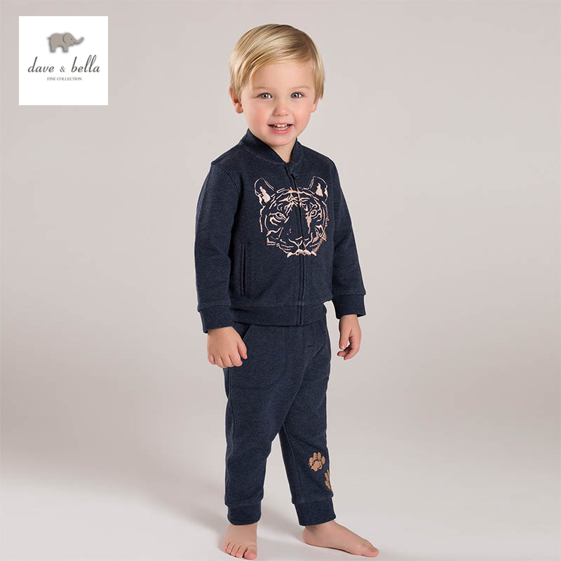 DB5470 dave bella spring new arrival boys navy clothing sets tiger printing sport sets<br>